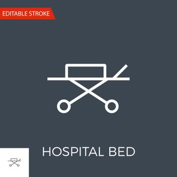 Hospital bed related vector thin line icon. Isolated on black background. Editable stroke. Vector illustration.
