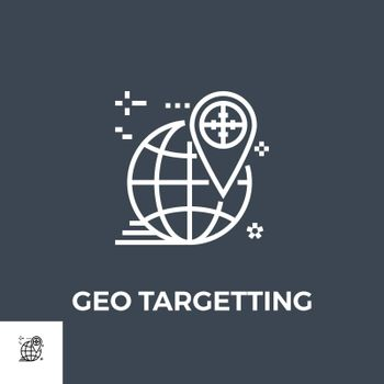 Geo Targetting Related Vector Thin Line Icon. Isolated on Black Background. Vector Illustration.