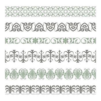 Set of seamless decorative borders
