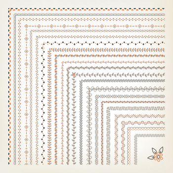 Big set of vector seamless decorative borders with corner elements