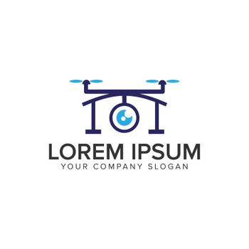 Drone logo design concept template.