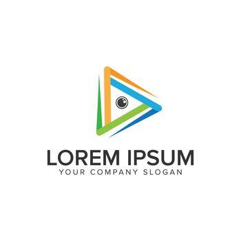 Camera lens media Logo design concept template.