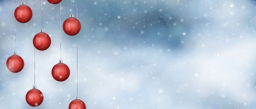 Red hanging christmas baubles with snowfall, bokeh. Festive background with foggy night sky.