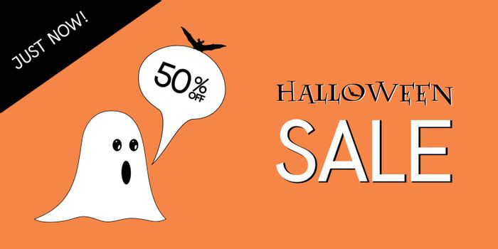 Halloween discount concept. 50 percent in speech bubble with amazed ghost, bat decoration, on orange isolated background. White just now text with black color.