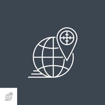 Geo Targetting Related Vector Thin Line Icon. Isolated on Black Background. Editable Stroke. Vector Illustration.