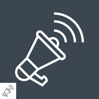Loudspeaker Thin Line Vector Icon. Flat icon isolated on the black background. Editable EPS file. Vector illustration.