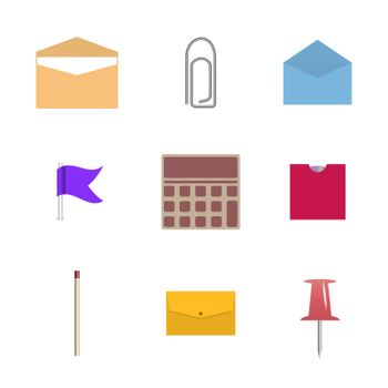 Set of icons isolated on white background. Office and school, vector illustration.