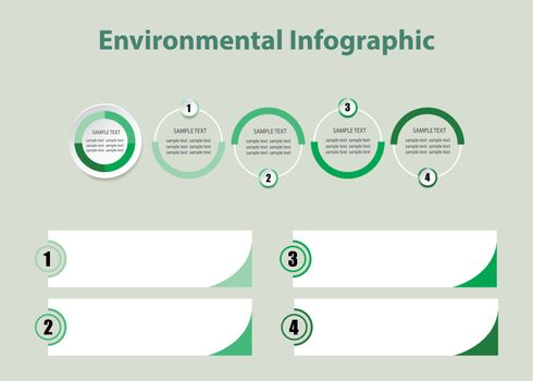 Environmental infographic template vector of circles and four labels with corners in graduated green color ready for your use