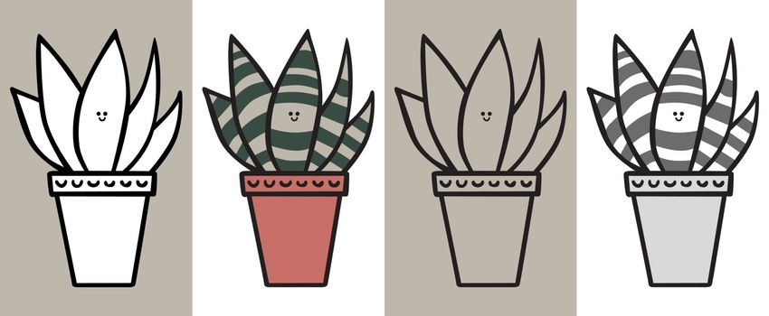 Illustrated succulent cartoon plant in black and white, color, outline and gray and black
