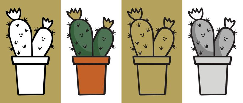 Illustrated cactus cartoon plant in black and white, color, outline and gray and black