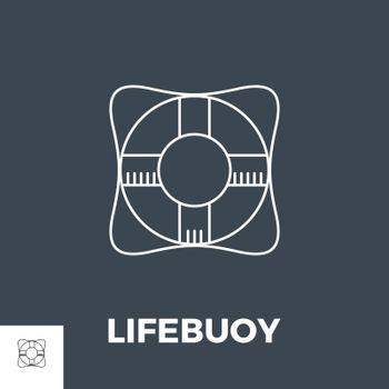 Lifebuoy Thin Line Vector Icon. Flat icon isolated on the black background. Editable EPS file. Vector illustration.