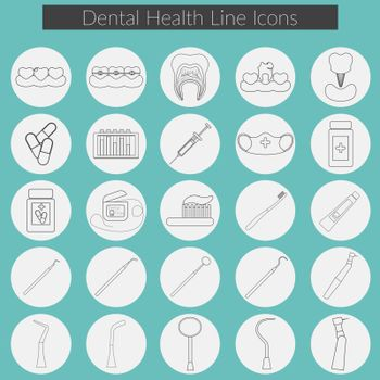 Dental care flat design Vector illustration with Dental floss, teeth, mouth, tooth paste and brush, medicine, syringe and dentist instruments.