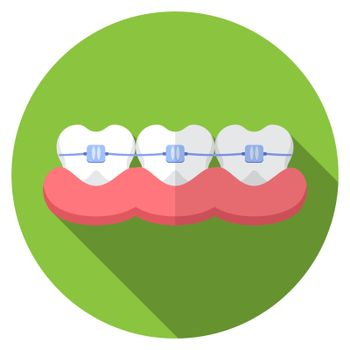 Flat design modern vector illustration of dental bracers icon with long shadow, isolated.