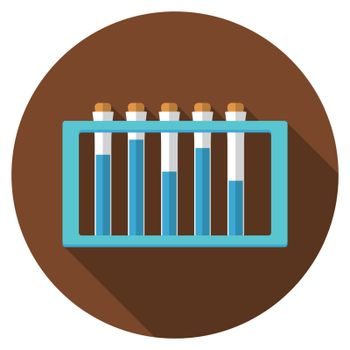Flat design modern vector illustration of laboratory samples icon with long shadow, isolated