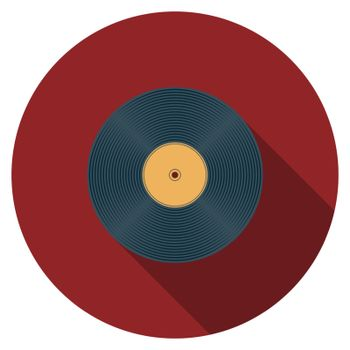 Flat design vector vinyl record icon with long shadow, isolated