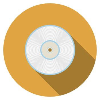 Flat design vector compact disc icon with long shadow, isolated