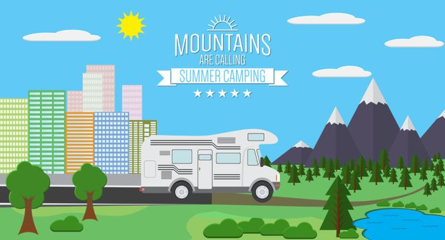 City and Mountains with forest and lake landscape flat vector illustration, concept for holiday and vacation, camping and hiking, outdoor adventure, with RV