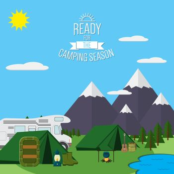 Mountains with forest and river trail landscape flat vector illustration, for camping and hiking, Extreme sports, rafting outdoor adventure, with recreation place, tents and fire.