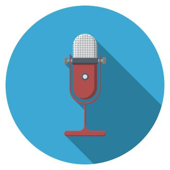 Flat design vector microphone icon with long shadow, isolated