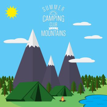 Mountains with forest and river trail landscape flat vector illustration, for camping and hiking, Extreme sports, rafting and hot air baloons outdoor adventure, with recreation place, tents and fire