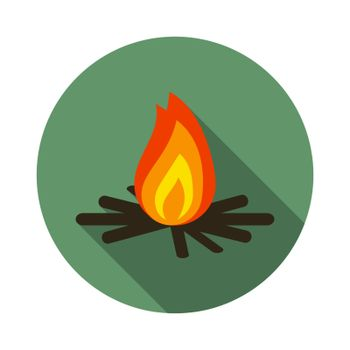 Flat design modern vector illustration of bonfire icon, camping and hiking symbol with long shadow