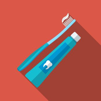 Flat design modern vector illustration of tooth brush and paste icon with long shadow, isolated
