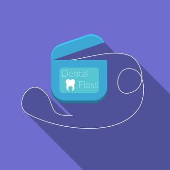 Flat design modern vector illustration of dental floss icon with long shadow, isolated
