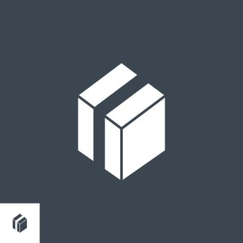 Box Related Vector Glyph Icon. Isolated on Black Background. Vector Illustration.