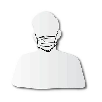 black line hand drawn of protective surgical mask on man face cut paper with shadow isolated on white background
