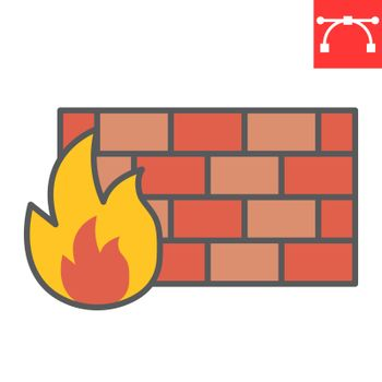 Firewall color line icon, security and protection, flame sign vector graphics, editable stroke filled outline icon, eps 10