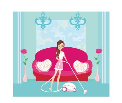 Girl with wireless vacuum cleaner