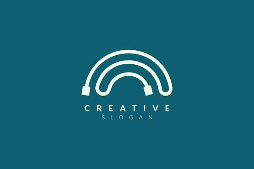 USB cable logo design. Minimalist and modern vector illustration design suitable for business or technology brands