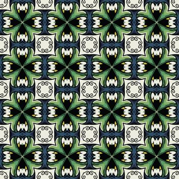 Seamless illustrated pattern made of abstract elements in white, blue, green, yellow and black