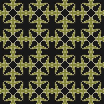 Seamless illustrated pattern made of abstract elements in light gray, green and black