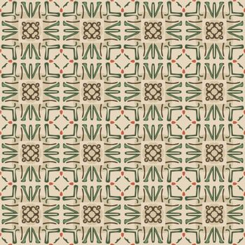 Seamless illustrated pattern made of abstract elements in beige, red, green and brown