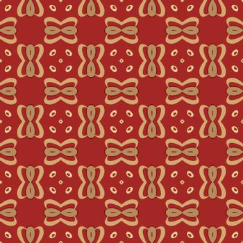 Seamless illustrated pattern made of abstract elements in red and shades of yellow