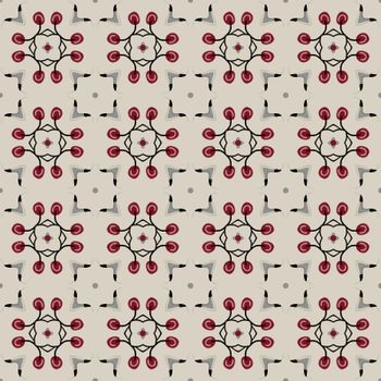 Seamless illustrated pattern made of abstract elements in beige,blue, red, and gray