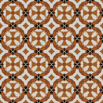 Seamless illustrated pattern made of abstract elements in light gray, shades of brown and black