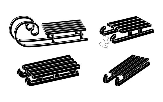 Sleigh silhouette vector symbol set. Winter sledge for children icon collection. Wooden snow sled black shape. Classic child old wood transport vehicle design. Seasonal illustration isolated on white