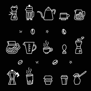 Vector collection graphic of coffee manual brewers in rough  outline looks like chalk stroke. Suitable for coffee shop graphic assets.