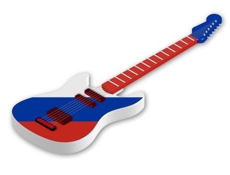 Awesome acoustic guitar with with the colors of the Russian flag in a realistic style. Design element. Isolated vector on white background