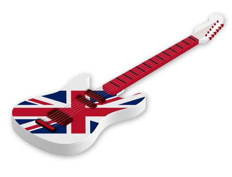 Awesome acoustic guitar with UK, United Kingdom flag and colors in a realistic style. Design element. Isolated vector on white background