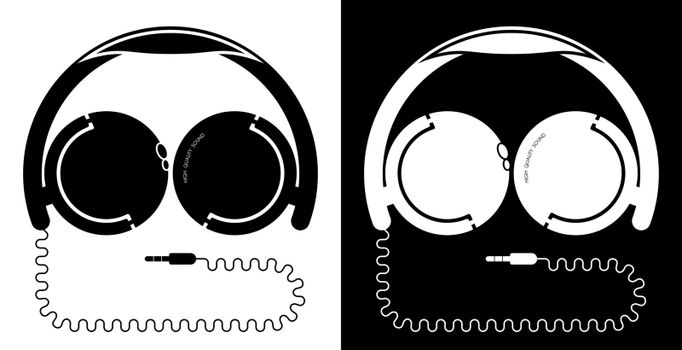 black and white icon, over-ear headphones on the head with a cable in the form of a man face. Isolated vector