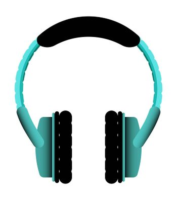 Wireless earphones overhead in turquoise color. Isolated vector on white background