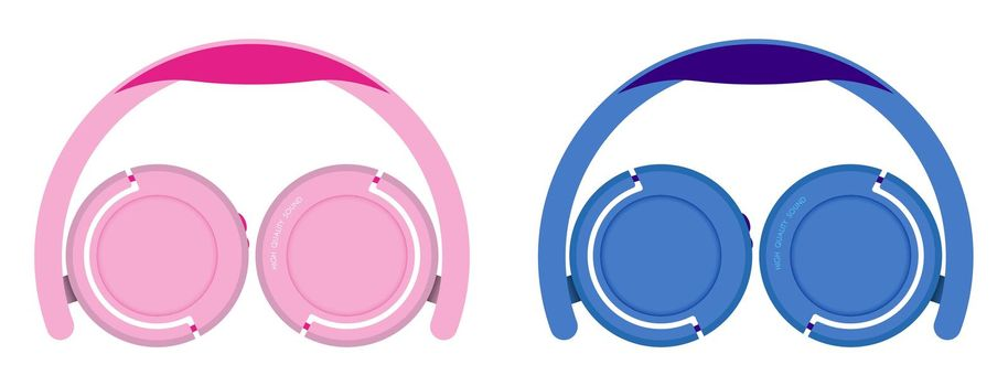 pink and blue over-ear headphones. Unfolded, easy to use. Isolated vector on a white background