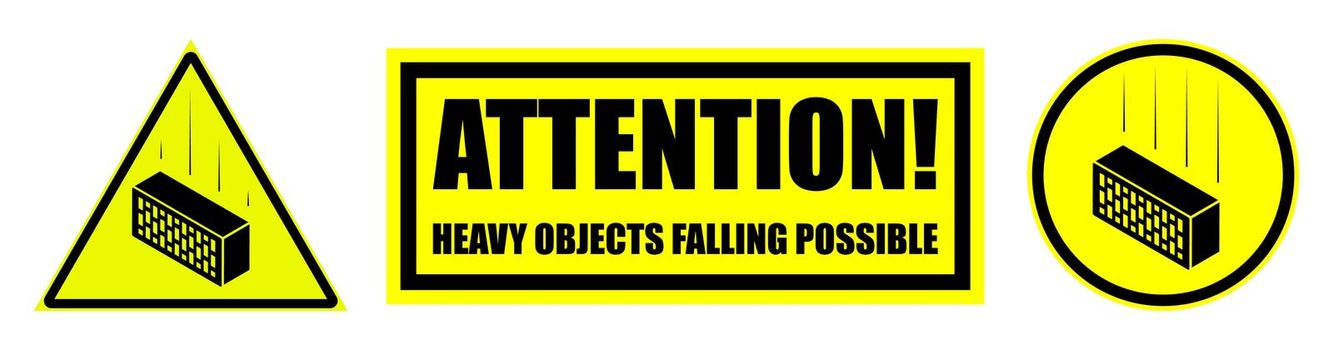 Set of danger signs, attention. instrument and heavy objects may fall. Isolated vector