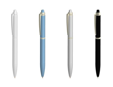 realistic ballpoint pens in various colors. Design element. Isolated vector on white background