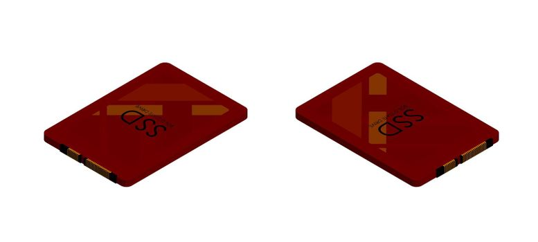isometric sata high-speed ssd disk in red colors. Isolated vector on white background