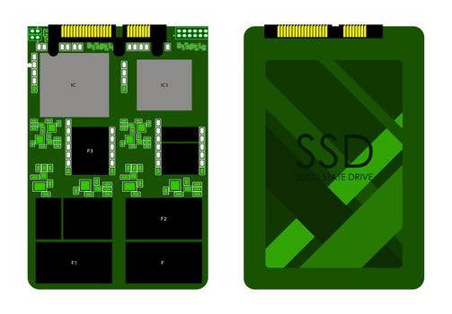 sata high-speed ssd disk in green colors. Isolated vector on white background