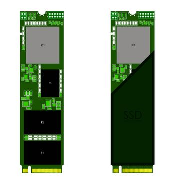 M2 PCI high-speed ssd disk in green colors. Isolated vector on white background